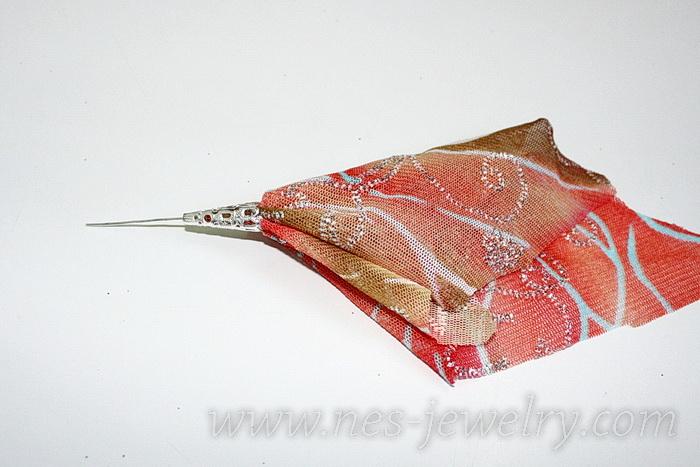 Boho style textile earrings DIY 07