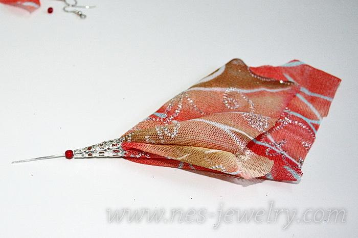 Boho style textile earrings DIY 08