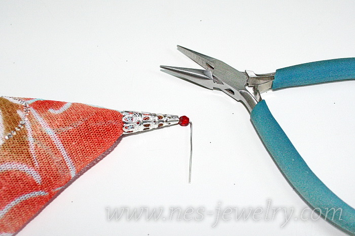Boho style textile earrings DIY 09