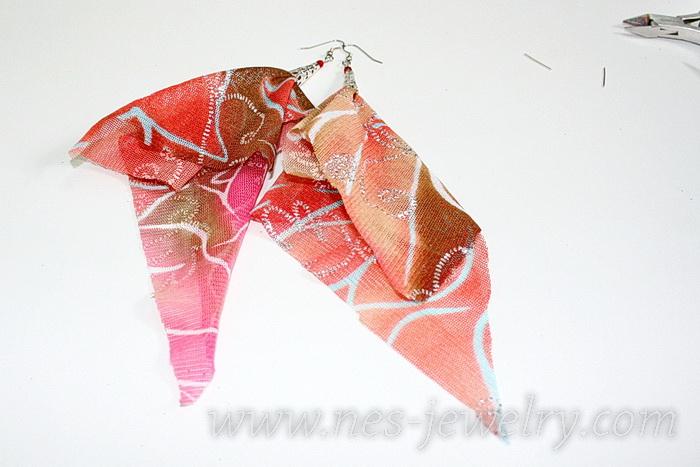 Boho style textile earrings DIY 13