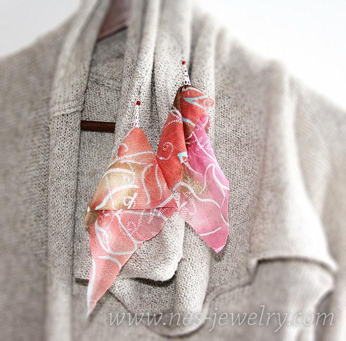 Boho style textile earrings DIY 14