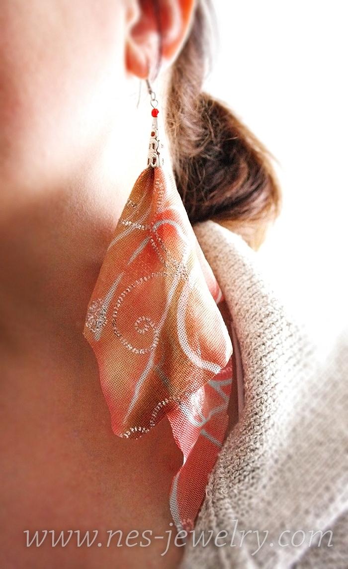Boho style textile earrings DIY 15