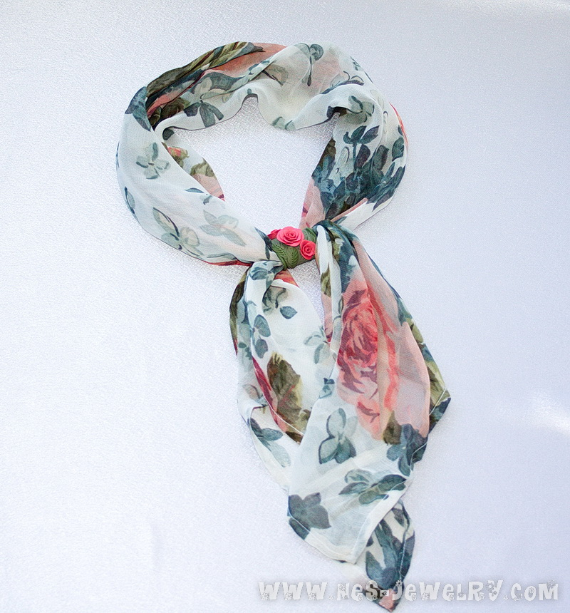 Sage green scarf with coral roses 1 0001