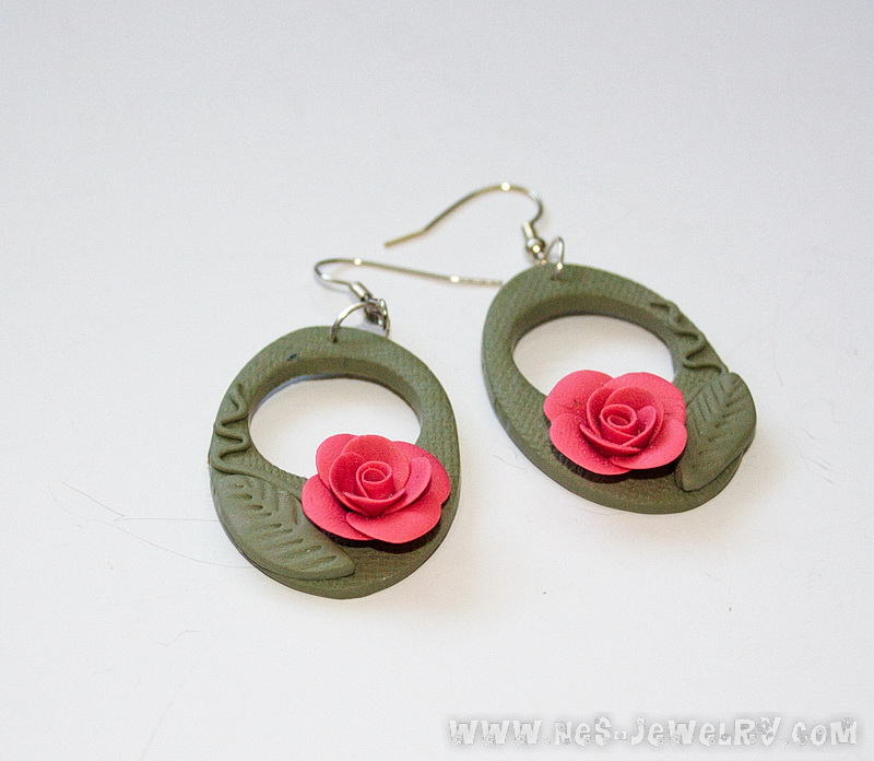 coral roses earrings for Sage green scarf 02