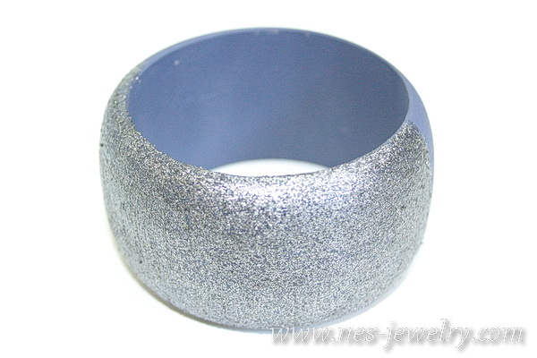 wooden bangle silver sparkles 3