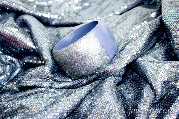 wooden bangle silver sparkles 6