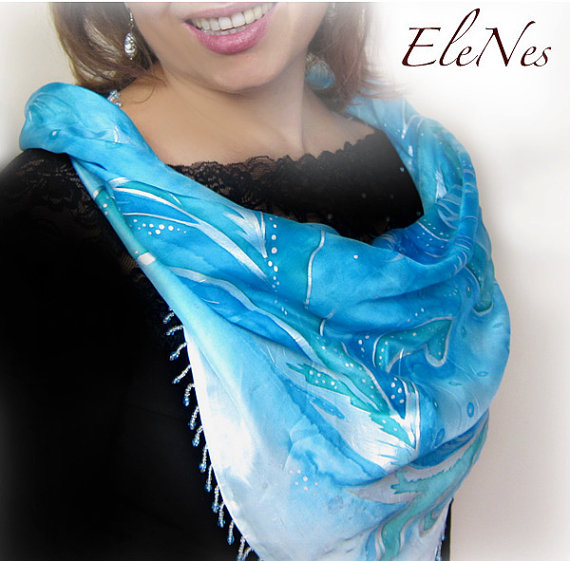 Hand Painted Silk Scarf Winter watercolor design 1