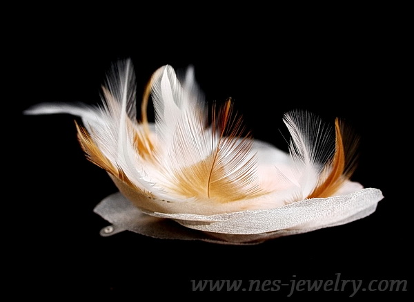 Peach organza flower with feathers 8