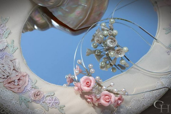 Pearls roses bridal prom girl headbans 20s style 331720328