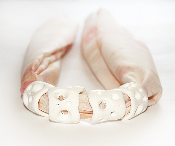 Long silk necklace pink and white 3