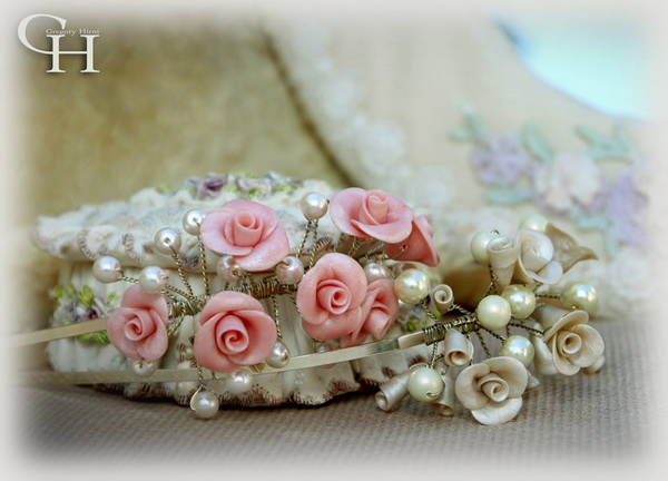 Pearls roses bridal prom girl headbans 20s style 3