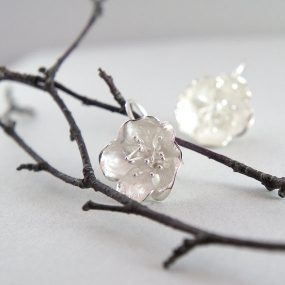unique silver jewelry handmade blossom earrings Manerovs