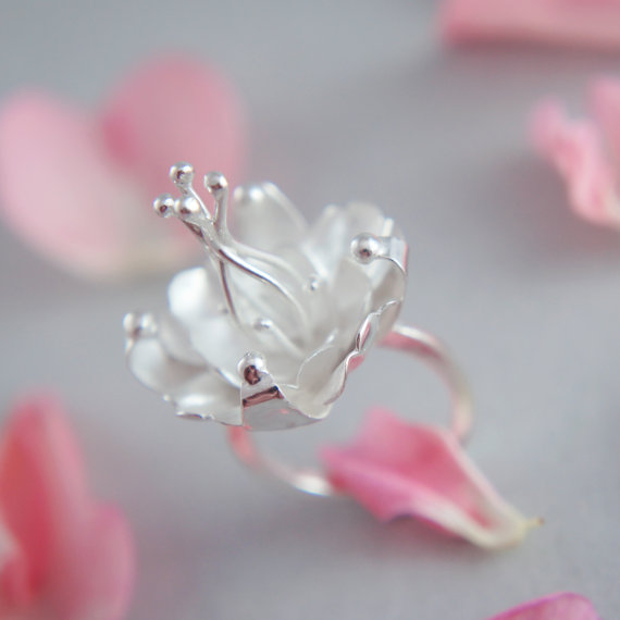 unique silver jewelry handmade blossom ring 2 Manerovs