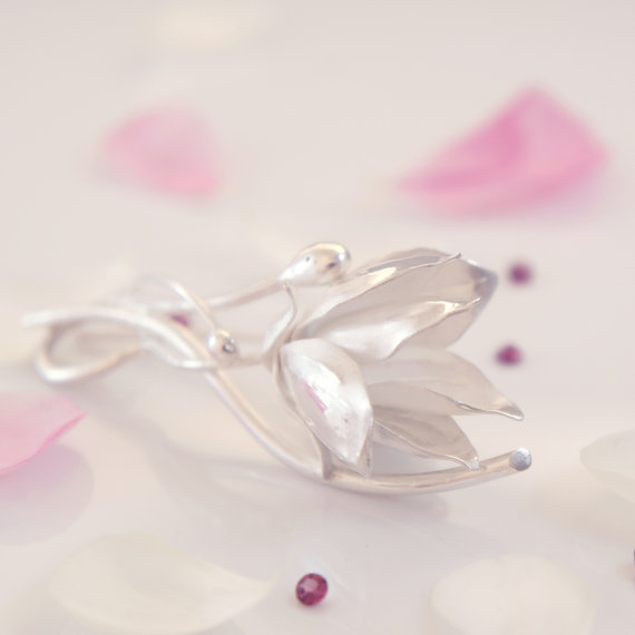 unique silver jewelry handmade magnolia brooch Manerovs