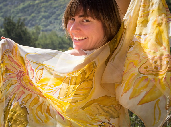 Handpainted silk scarf with yellow leaves 5