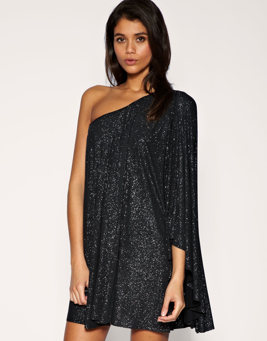 Lipsy Glitter Dress With One Sleeve