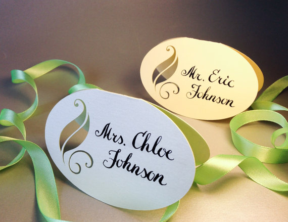 Personalized Place Cards with Leaf and Original Calligraphy