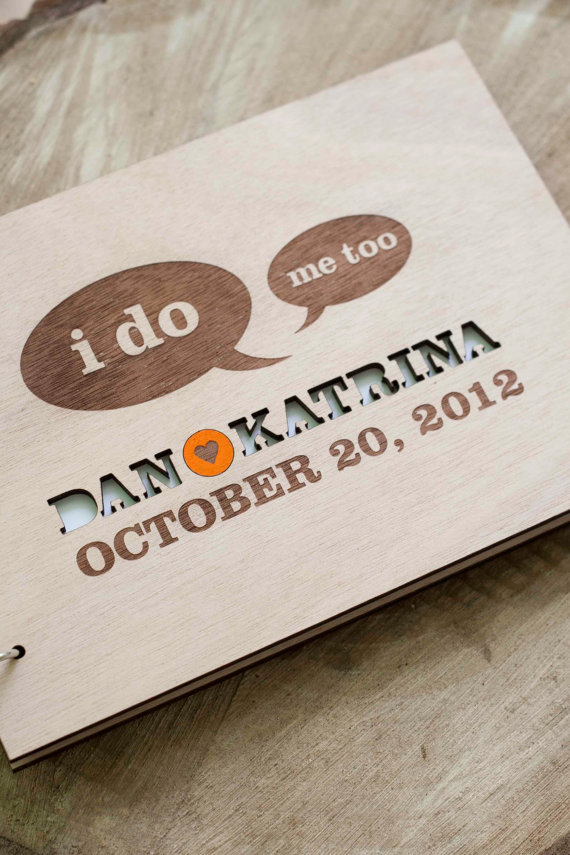 "Custom Wedding guest book wood rustic wedding guest book album bridal shower engagement anniversary - Today they say "" I DO"""