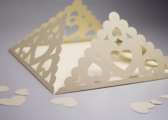 Decorative Envelope with Hearts, Paper Lace for Wedding