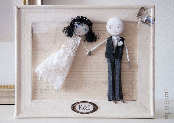 "Framed Custom Wedding Portrait Personalized Art Dolls ""Classic Bride & Groom"""