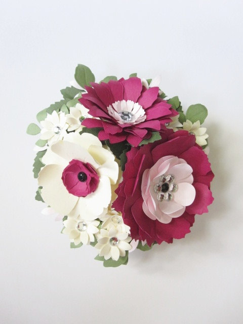 Pink and Ivory Custom Paper Flower Cake Topper