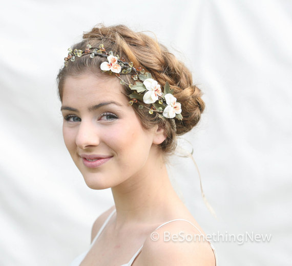 Woodland Wedding Hair Wreath with Vintage Velvet Pansies Wedding Hair Accessory