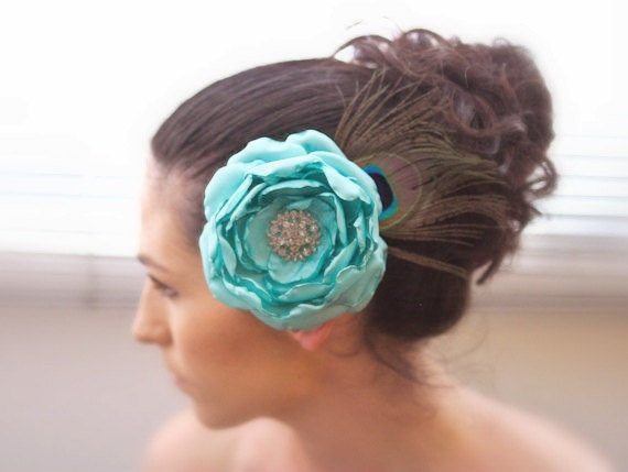 Peacock Bridal Hair Accessory, Wedding Fascinator